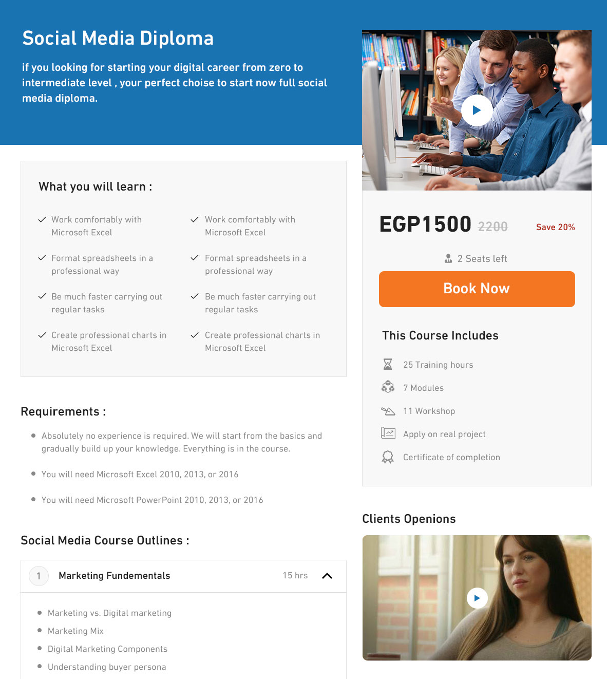 Well Detailed Course Details Page